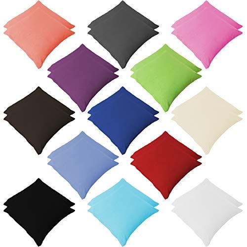 Style Heim 2er Pack Renforce Kissenbezüg Kissenhülle Kopfkissenbezug mit Reißverschluss 40x60 cm 100% Baumwolle Weiß
