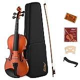 Eastar EVA-2 4/4 Violine Set mit Lernpunkt in Fingerplatte mit Inlay mit Hardcase, Schulterstütze, Bogen, Kolophonium, Geige Brücke und Saiten