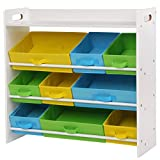 SONGMICS Kinderzimmerregal, Spielzeug-Organizer mit 9 herausnehmbaren Vlieskörben, Spielzeug- und Bücherregal fürs Kinderzimmer, Weißer Rahmen GKR31WT