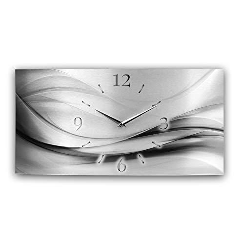 Kreative Feder Abstrakt Silber XXL Metallic Designer Funk Wanduhr Funkuhr modernes Design leise ohne Ticken * Made in Germany* (80x40cm Funkuhr)