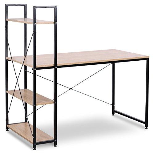 WOLTU TSB01hei Schreibtisch Computertisch Büromöbel PC Tisch Bürotisch Arbeitstisch aus Holz und Stahl, mit Ablage, ca. 120x64x140 cm