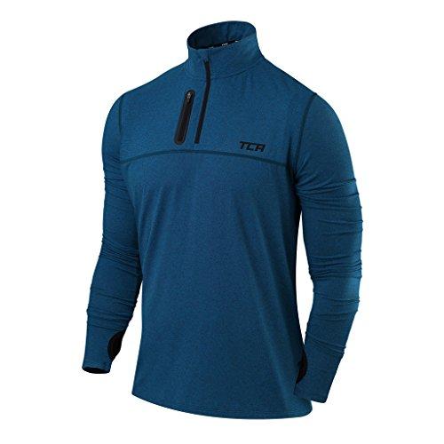 TCA Herren Fusion Pro Quickdry Laufshirt - Langarm mit Kragen - Marineblau, L