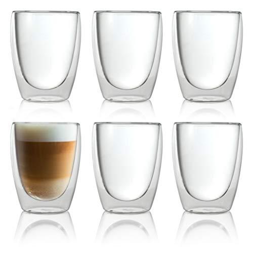 Caffé Italia Torino 6 x 250 ml Doppelwandige Gläser - Thermogläser für Cappuccino Tee Heiß- und Kaltgetränke - spülmaschinengeeignet