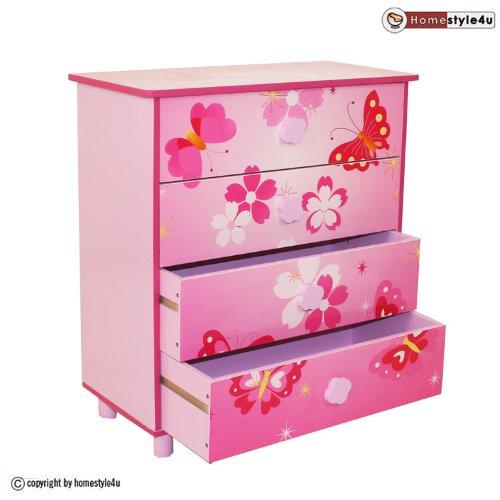 Homestyle4u Kinder Möbel Kommode 4Schubladen mit Schmetterling Motiv, Holz, mehrfarbig, 30x 30x 30cm