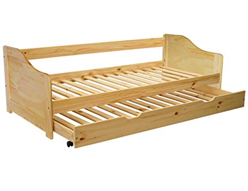 KMH, Massivholz Ausziehbett/Jugendbett/Kinderbett/Kojenbett mit ausziehbarem Bettkasten, incl. 2 Lattenroste (200 x 90 cm/Natur) (#201100)