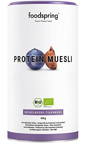 foodspring Bio Protein Müsli, Heidelbeere-Tigernuss, 420g, 3,5x mehr Protein als normales Müsli, Hergestellt in Deutschland mit Bio-Qualität vom Bodensee