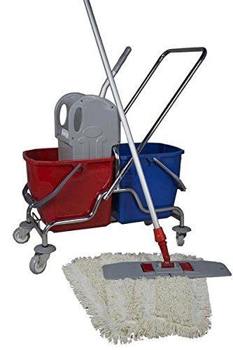 CleanSV Wischset 50 cm - Putzwagen Chrom / Reinigungswagen mit Presse, Mop Set: bestehend aus 3 Baumwollmop / Wischmop 50 cm , einem 50 cm Klapphalter mit Profi Telekopstiehl