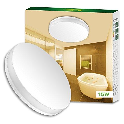 LE Wasserfest Deckenleuchte IP54 15W ersetzt 100W Glühbirne led Deckenlampe Ø22cm 3000K 1250lm 120° Abstrahlwinkel ideal für Badezimmer Balkon Flur Bad Küche Wohnzimmer Warmweiß.