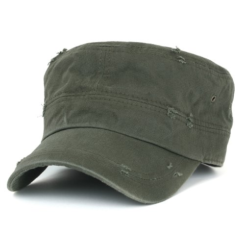 ililily Distressed Cotton Cadet Cap with Adjustable Strap Army Style Hut (cadet-527-3)