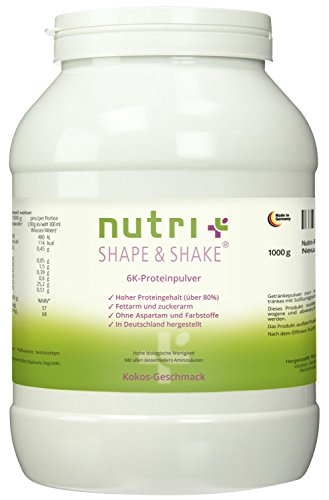 Proteinpulver Haselnuss 1kg - Nutri-Plus Shape & Shake Eiweißpulver ohne Aspartam - Mit Whey + Casein - Dose inkl. Messlöffel - 6k-Protein