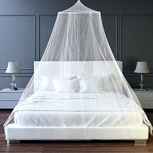 esafio Moskitonetz Bett, Groß Mückennetz inkl. Montagematerial,  Moskitoschutz Doppelbetten mit extra großem Spannring für Zuhause auch auf der Reise