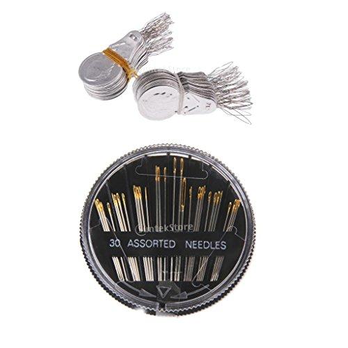 Sharplace 30-Teiliges Nähnadel-Set - Nähnadeln Stopfnadeln mit 100x Nadeleinfädler Einfädelhilfe Einfädler Nadel
