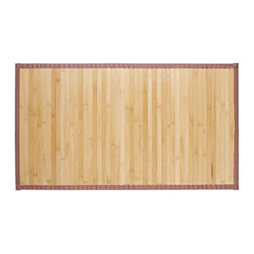 Relaxdays Bambusmatte, feuchtigkeitsresistent, Rutschfest, Textilrand, Bad Fußmatte, Duschmatte, Sauna, 80x45 cm, Natur, Bambus, Stoff, 80 x 45 cm