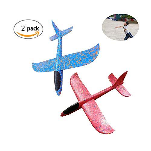 Fliegende Gleiter,TANGGER 2 Stück Wurfgleiter Flugzeuge Handbuch Gleitflugzeuge Outdoor Wurf Segelflugzeug Spielzeug für Kindergeburtstag,Spiele, Preise(Blau und Rosa)