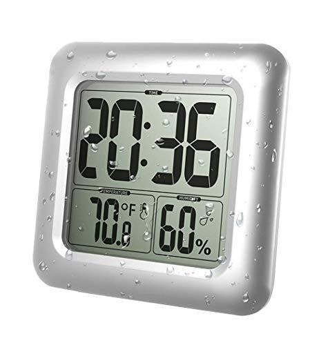 XGG Digitale Duschuhr - wasserdichte Badezimmeruhr - Timer-Temperatur-Feuchtigkeits-Wand-Duschuhr Küchenwanduhren, Silber