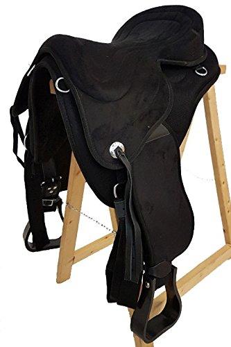A&M Reitsport Baumloser Wanderreit Sattel Liberty Schwarz + Fender + Steigbügel NEU, Größe:16 Zoll