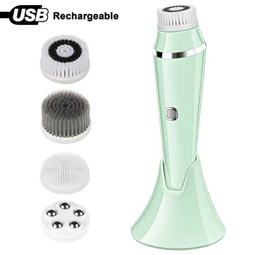 Gesichtsreinigungsbürste Elektrische Spin Gesichtsbürste Wasserdichte Skin Scrubber & Massager mit 4 Bürstenkopf, USB aufladbares Gesichtsreinigungsgerät für Tiefenreinigung - Peeling