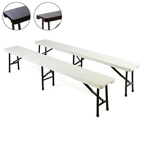 Partybank 2er Set Klappbank Rattan-Optik 180 x 25 x 43 cm Bierbank bis 200 kg Gartenbank Garnitur robust stabil wetterfest Farbe wählbar weiß schwarz braun (weiß)