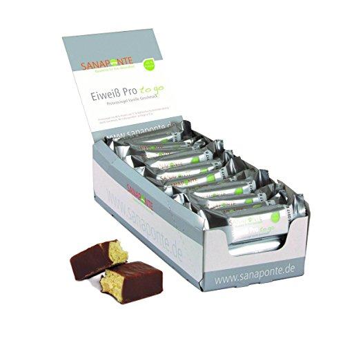 Sanaponte Eiweiß Pro 'to go' Riegel 49% Protein (24x 35g Riegel) Low Carb Protein Riegel Vanille Geschmack - Protein Bar - nur 129 kcal pro Riegel