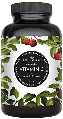 Natürliches Vitamin C aus Acerola. 120 vegane Kapseln im 4 Monatsvorrat. Ohne unerwünschte Zusätze. Laborgeprüft, vegan und hergestellt in Deutschland