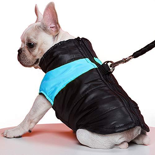 TFENG Hundemantel Hundejacke für Hunde, Warm Gepolstert Puffer Weste Welpen Regenmantel mit Fleece (Blau, S)