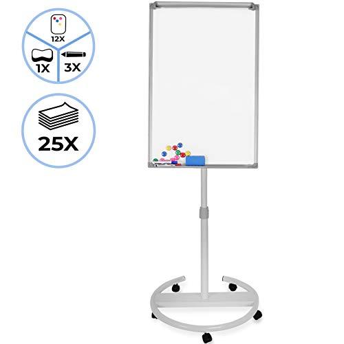 Flipchart mit Rollenfuß - 60 x 90, höhenverstellbar, inkl. Papier, Marker, Magnete, Schwamm, Papierhalterung, Weiß - Whiteboard, Magnettafel