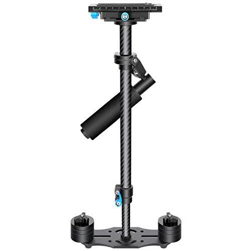 Neewer Kohlefaser 24 Zoll / 60 Zentimeter Handstabilisator mit 1/4 3/8 Zoll Schraube Schnelle Schuhplatte für Canon Nikon Sony und andere DSLR Kamera Video DV bis zu 3 Kilogramm (Schwarz)