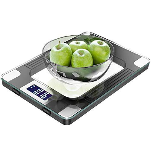 MOMMED Digitale Küchenwaage mit hochsensiblem LCD Display zur genauen Gramm Abmessung - Profi Haushaltswaage mit großer Wiegefläche & modernem Design - Maximalgewicht 15 Kg Inkl Batterien