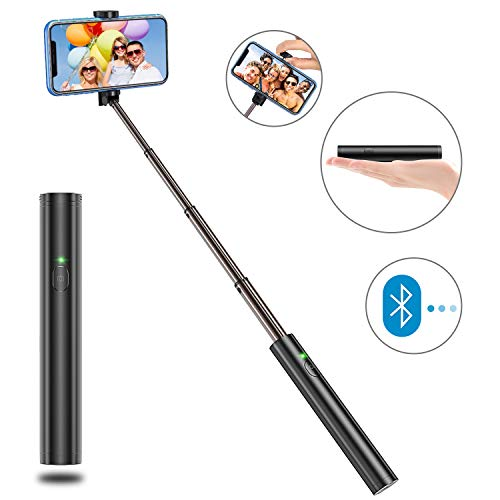 Bovon Selfiestick Bluetooth, Aluminium All-in-one Leicht Tragbare Selfiestange, Erweiterbarer Selfie Stick für iPhone XS Max/Xr/X / 8 Plus, Galaxy S10 Plus / S10e / Note 9 / S10 Plus usw.