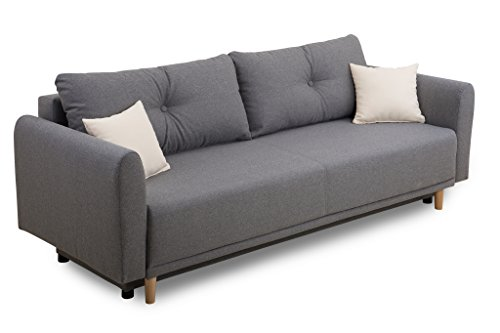B-famous 100743 Schlafsofa, Stoff, grau, 95 x 235 x 88 cm