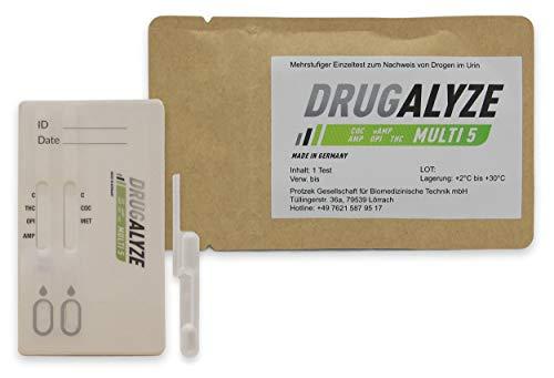 DRUGALYZE - Drogentest Multi 5 - Cannabis - Opiate - Amphetamine - Kokain - Methamphetamin - Schnelltest - 97% weniger Kunststoff - Made in Germany