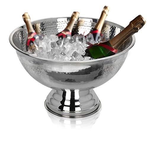 Krollmann Design Sektkühler aus Edelstahl Ø40 cm in Hammerschlagoptik Champagnerschale für bis zu 6 Flaschen - Flaschenkühler für den edlen Genuss von Champagner, Sekt, Wein, Spirituosen, Bier