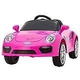 UEnjoy Kinderauto Elektronisch 6V Kinderfahrzeug Elektro mit Fernbedienung, LED Leuchten,Musik für Kinder,Rosa