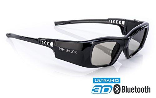 Hi-SHOCK 3D-BT Pro 'Black Diamond' | Smart Active 3D Brille für 4K / HDR / HD 3D TV's von Sony, Samsung, Panasonic, Sharp, Toshiba, LG Plasma, Hisense ( Bj. 2011-2018*) | kompatibel mit SSG-3570 CR / TDG-BT500A / AN3DG35 / TY-ER3D5ME / FPT-AG04 / AG-S350 / FPS3D08 | optimiert Schärfe, Helligkeit & Kontrast | inkl. umfangreiches Zubehör + 3 Jahre Garantie [Shutterbrille | 120 Hz | Akkubetrieb | 39g | Bluetooth]