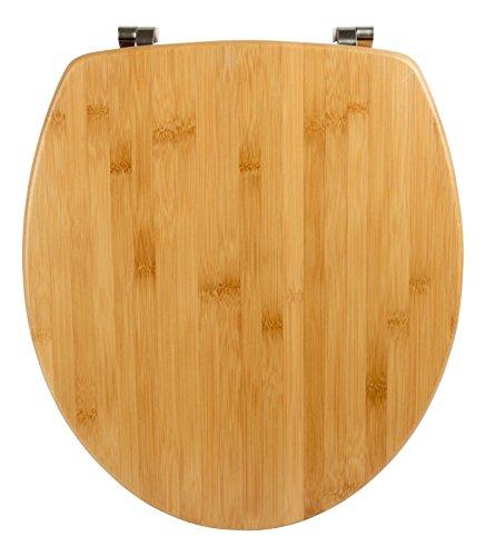WC-Sitz Bambus Natur | Toilettensitz | WC-Brille aus Holz | Edelstahl-Scharnier