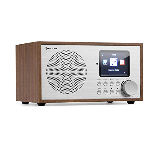 auna Silver Star Mini Internetradio mit Bluetooth • DAB+/UKW Radio • WLAN • USB • AUX-In • Line-Out • 8 W RMS • HCC-Display • inkl. Fernbedienung • Eiche