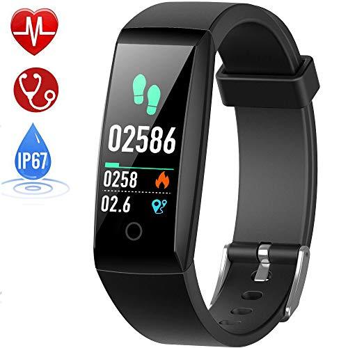 Fitness Armband mit Pulsmesser, HETP Fitness Tracker Uhr Wasserdicht IP67 Blutdruckmesser Farbbildschirm Schrittzähler Uhr für Kinder Damen Uhren Pulsuhr Stoppuhr Sport GPS Aktivitätstracker Schlafüberwachung Vibrationsalarm Anruf SMS Beachten mit iOS Android Handy