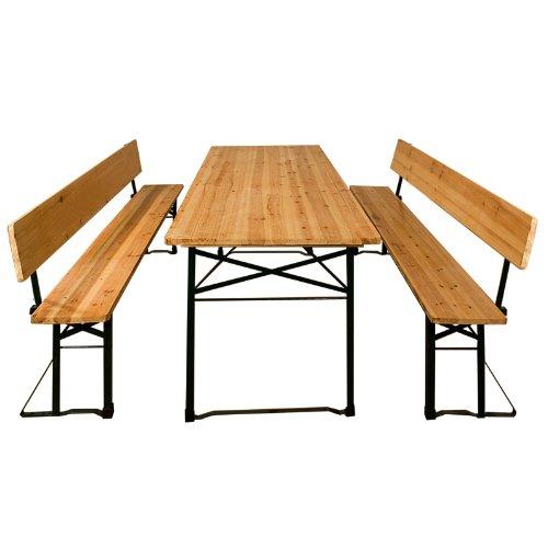 Bierzeltgarnitur Gartenmöbel-Set  inklusive Rückenlehnen  Klappbar  schnell aufgebaut  2x Bierbänke 1x Biertisch 'extra breit'  Festzeltgarnitur Biertisch Sitzgarnitur