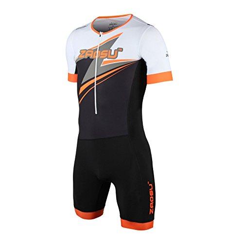 ZAOSU Herren Aerosuit - Trisuit Einteiler | Triathlonanzug mit Arm, Farbe:orange, Größe:L