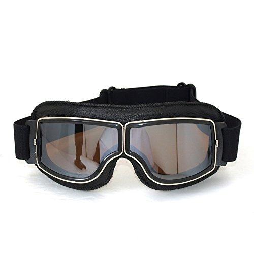 Vintage Motorradbrillen, FrohLila Motorradbrille Schutzbrille Fliegerbrille Aviator Pilot Motocross Biker Cruiser Helm Augenschutz Brille aus PC & PU Leder für Harley-Davidson Dyna Touring Trike Sportster XL Chopper, schwarz/versilbern Brillenglas