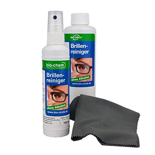 bio-chem Brillenreiniger Sparset 100 ml Sprayflasche + 250 ml Nachfüllflaschen (350ml) + hochwertiges Mikrofasertuch
