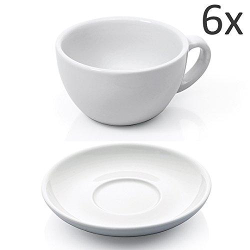 Cappuccino Tassen Set 12-tlg. weiß Porzellan Cappuccinotasse Untertasse Kaffeetasse Tasse dickwandig Füllmenge 200 ml