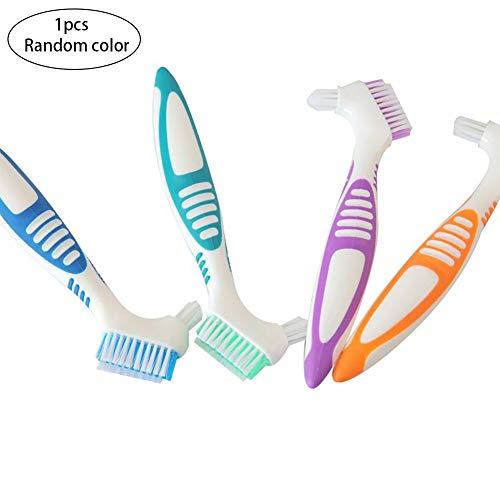 Xiton 1PC Prothesen-ReinigungsbüRste Premium Prothesenreiniger Top Prothesenreinigungswerkzeug Mit Mehrschichtigen Borsten Und Ergonomischer Gummigriff (ZufäLlig)