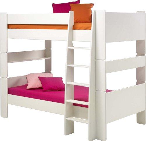 Steens For Kids Kinderbett/ Etagenbett/ Hochbett, inkl. Lattenrost und Absturzsicherung, Liegefläche 90 x 200 cm, MDF, weiß
