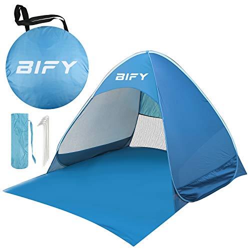 BIFY Pop up Strandmuschel/Trandzelt Beach Tragbar Wurfzelt,UV Schutz 50+ für1-3person mit Haus Verschiedene Arten Aktivitäten am Strand (blue)