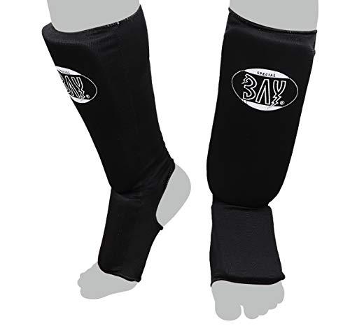 BAY 'MT Cotton schwarz XS Spann-Schienbeinschutz Baumwolle Elastik Stoff, Muay Thai, TKD, Thaiboxen schwarz, Größe XS