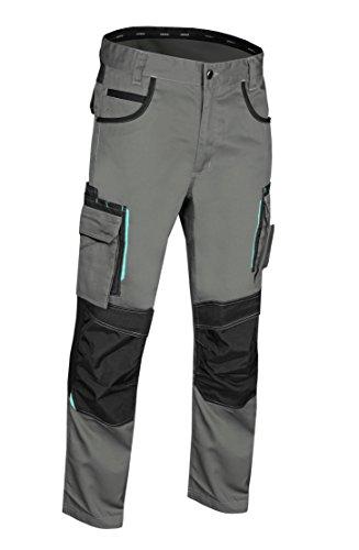 Uvex tune-up 8909 Arbeitshose Bundhose mit abriebfesten Cordura, Kniepolster-Taschen, viele Seitentaschen, Grau Schwarz, Gr.-52
