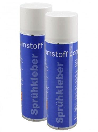 2 Dosen Sprühkleber a 500ml Dose, kräftiger Kleber Spraydose mit Dosierventil, geruchsarm und transparent