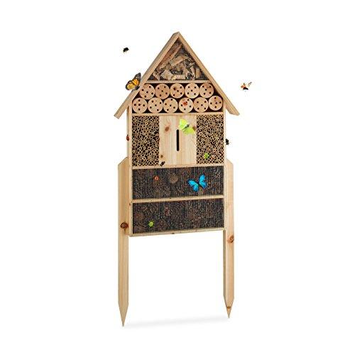 'Relaxdays Insektenhotel XL stehend, Nisthilfe für Bienen, Florfliegen, Marienkäfer, Holz HxBxT: 79 x 49 x 12 cm, natur '
