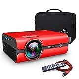 VANKYO Leisure 410 Mini Beamer LED Projektor 2500 Lumen, Heimkino Beamer Full HD 1080P unterstützt, Kompatibel mit HDMI VGA USB AV TF für Smartphone Laptop, rot
